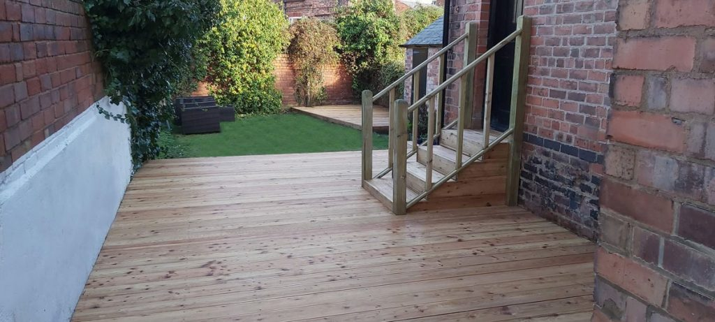 Decking and steps in larch