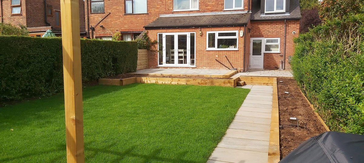 garden makeover with new lawn